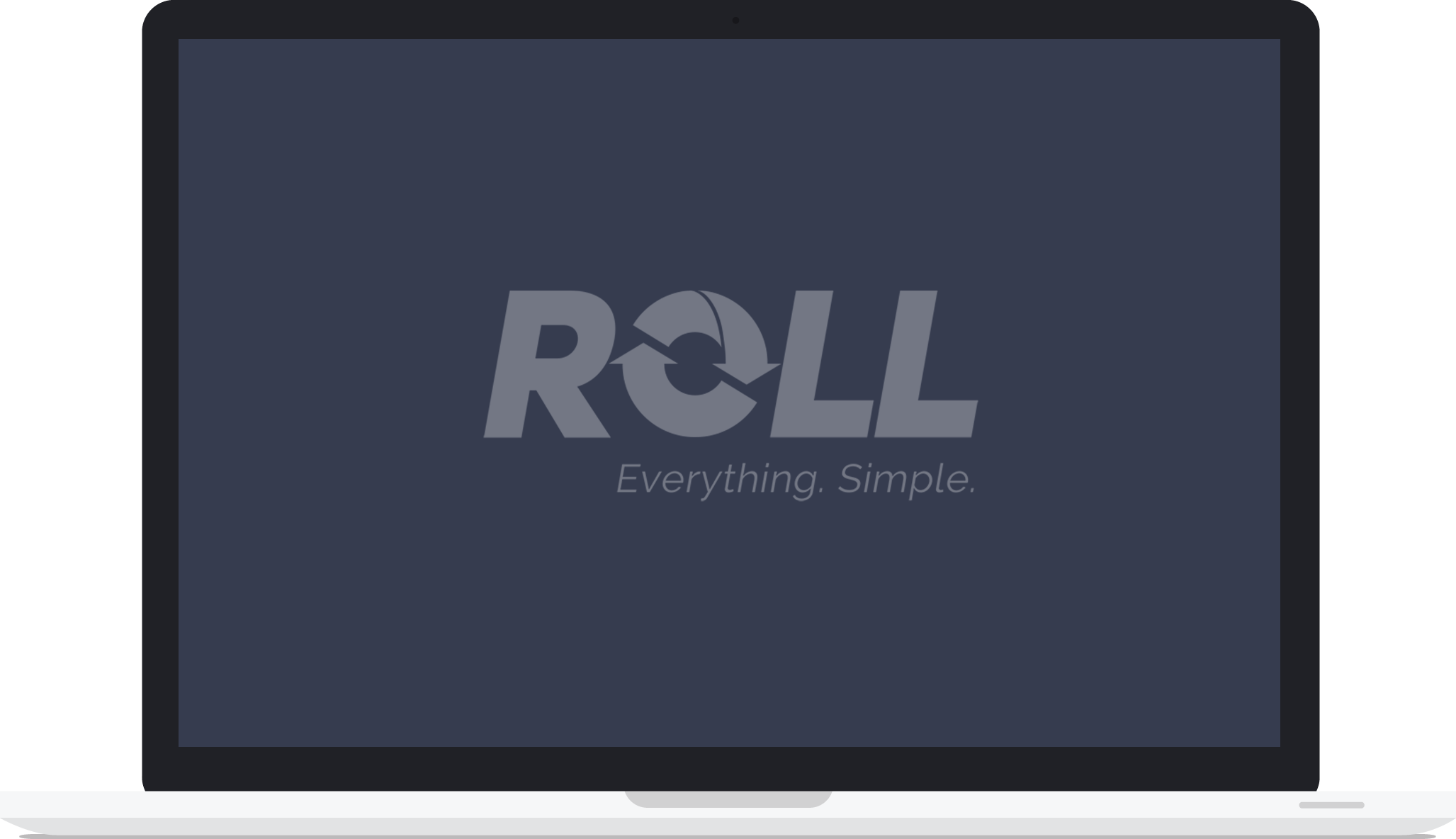 Laptop with Roll logo on the screen